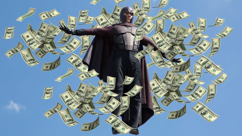 Magneto's new costume: Money Manipulation
